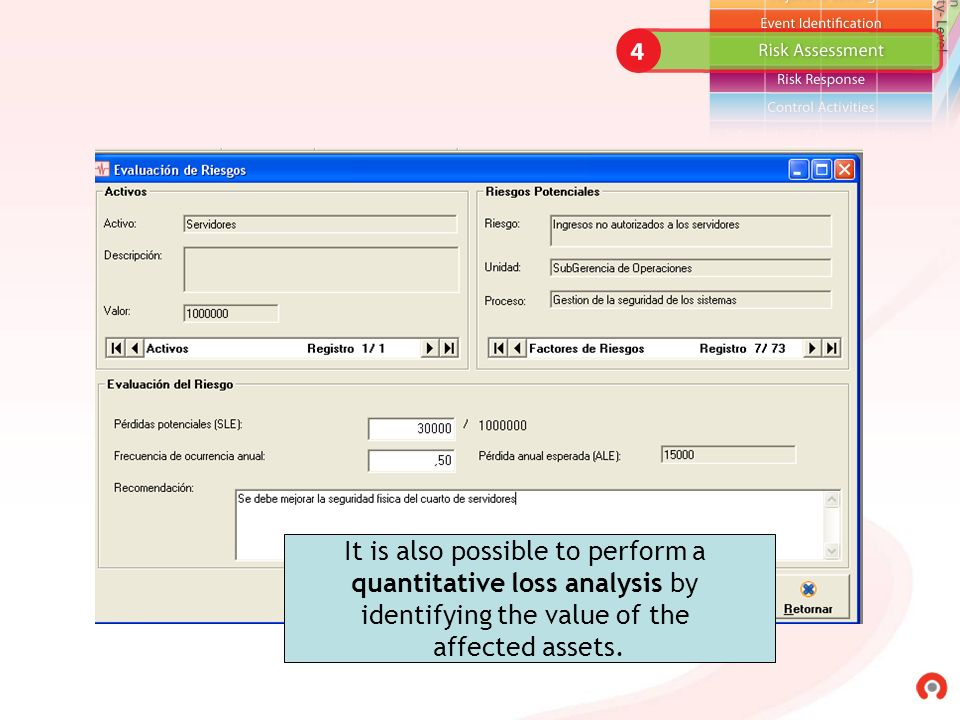 It is also possible to perform a quantitative loss analysis by