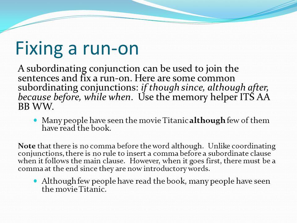 Fixing a run-on