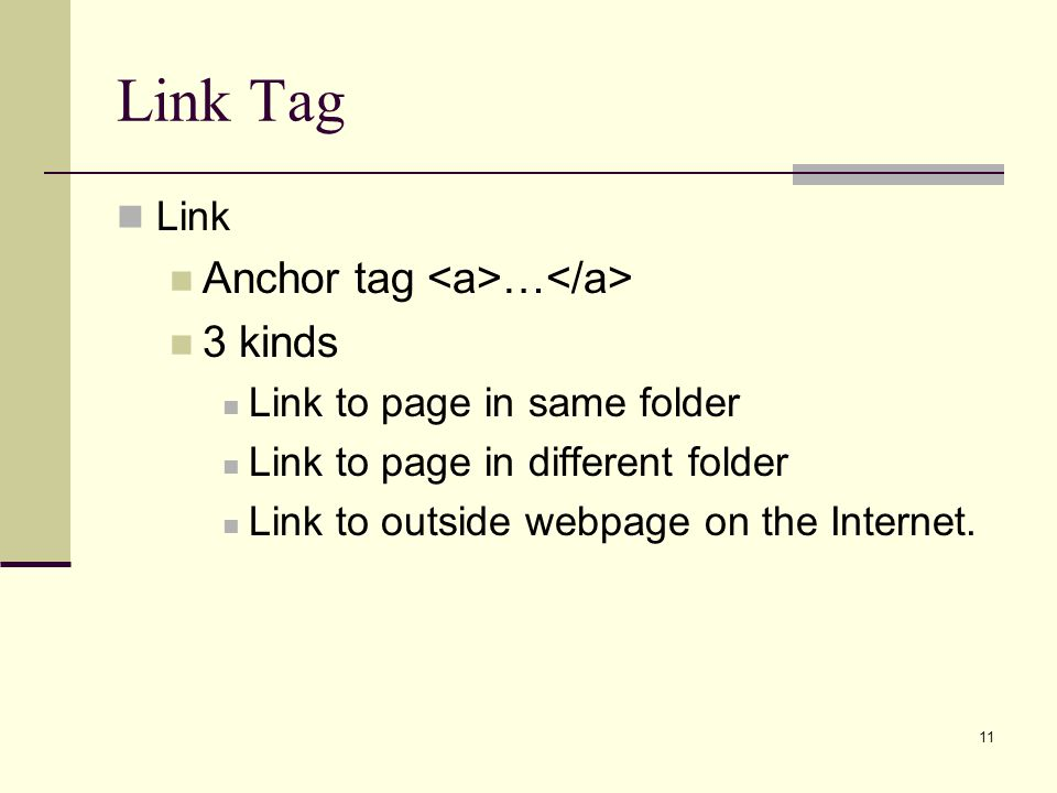Link Tag Anchor tag <a>…</a> 3 kinds Link