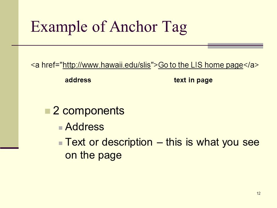 Example of Anchor Tag 2 components address text in page Address