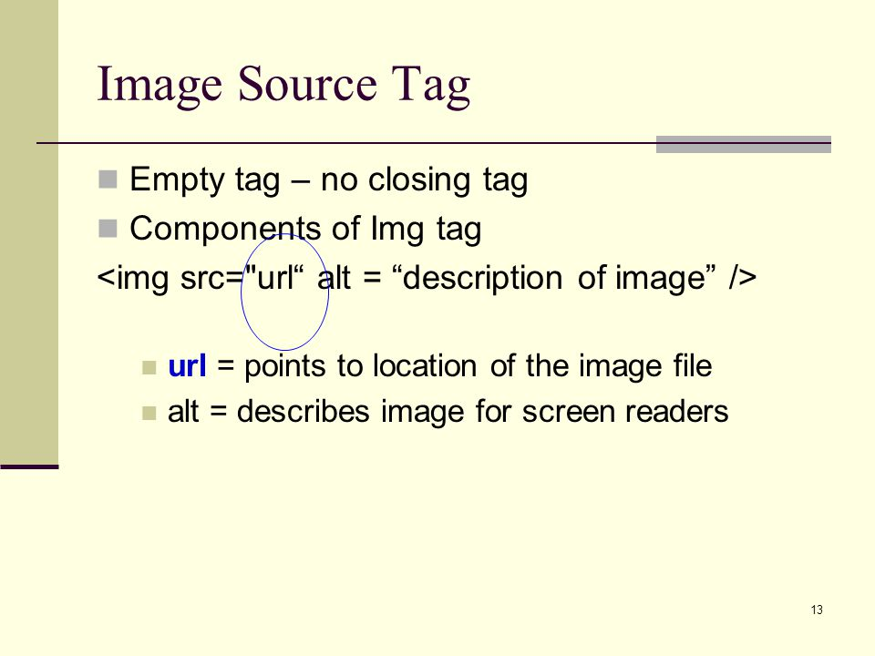Image Source Tag Empty tag – no closing tag Components of Img tag