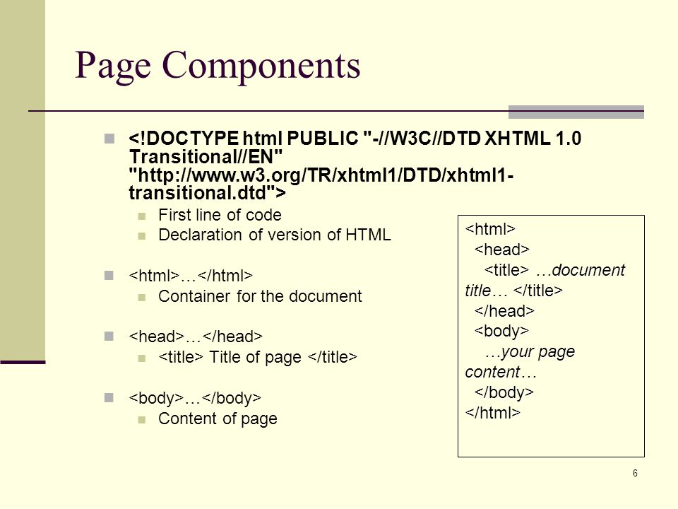 Page Components <!DOCTYPE html PUBLIC -//W3C//DTD XHTML 1.0 Transitional//EN http://www.w3.org/TR/xhtml1/DTD/xhtml1-transitional.dtd >