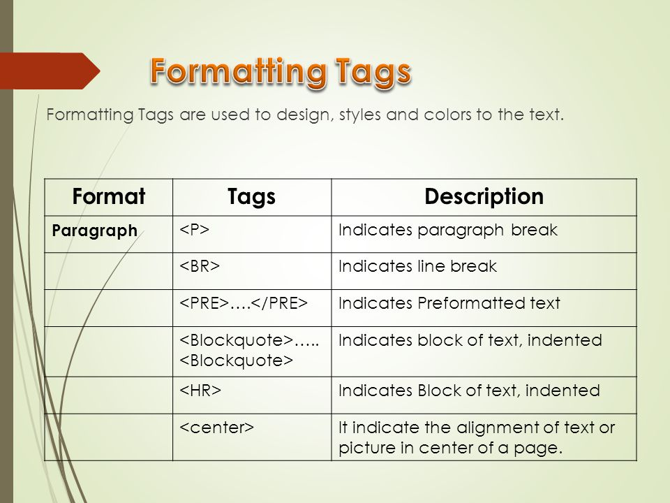 Formatting Tags Format Tags Description