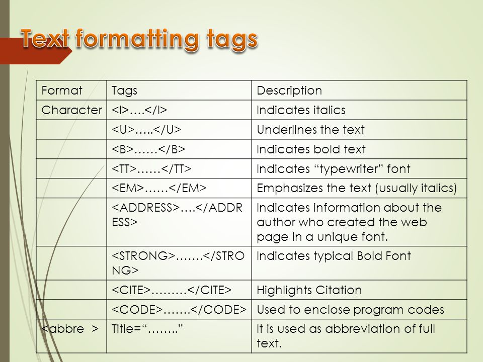 Text formatting tags Format Tags Description Character