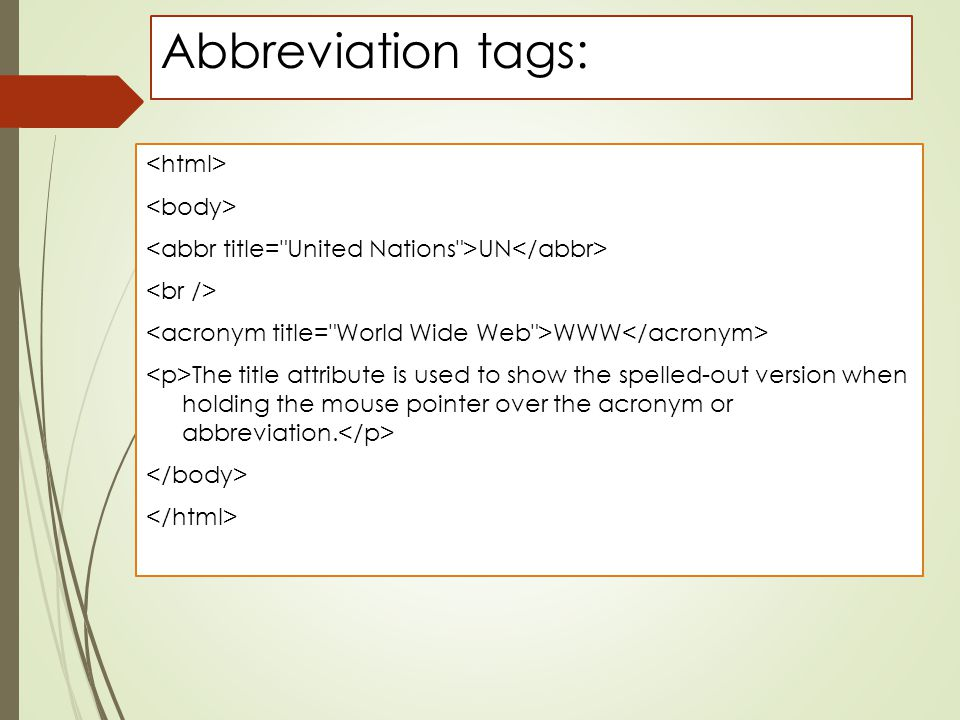 Abbreviation tags: