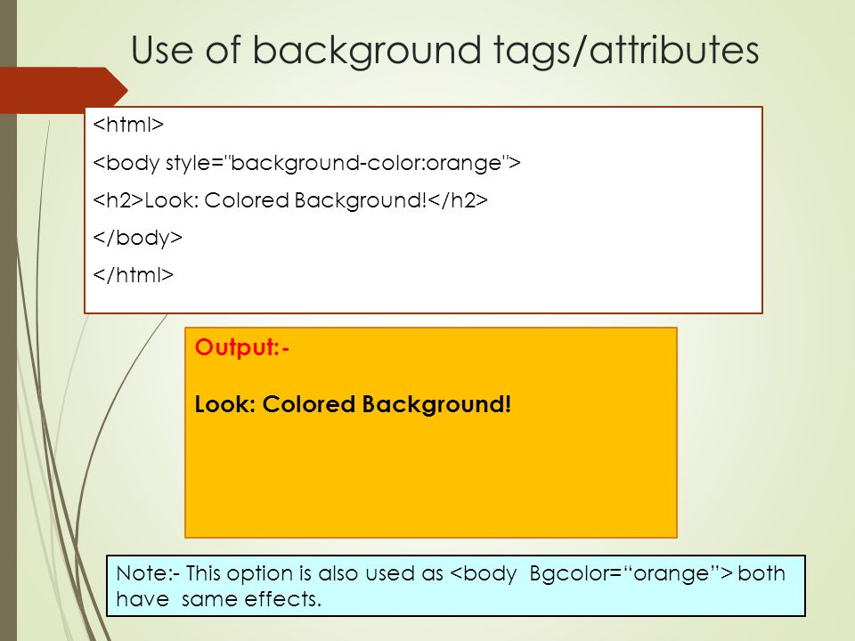 Use of background tags/attributes