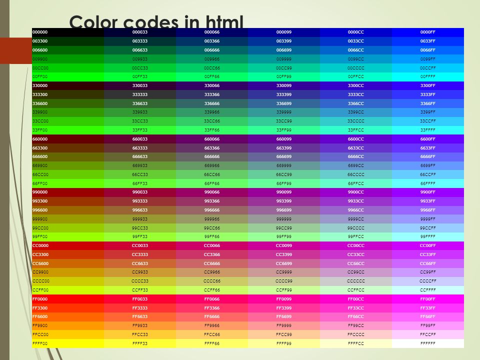 Color codes in html CC 0000FF