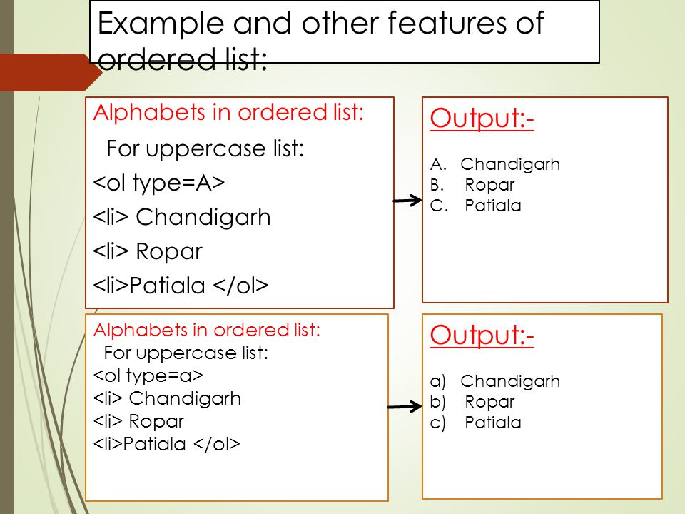 Example and other features of ordered list: