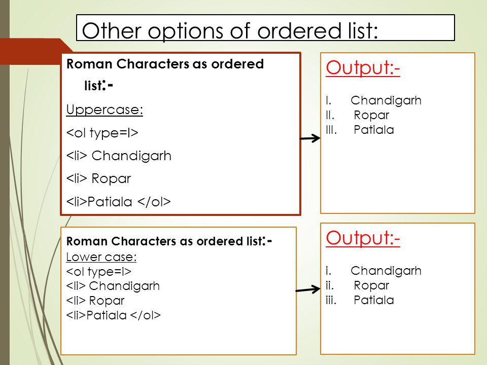 Other options of ordered list: