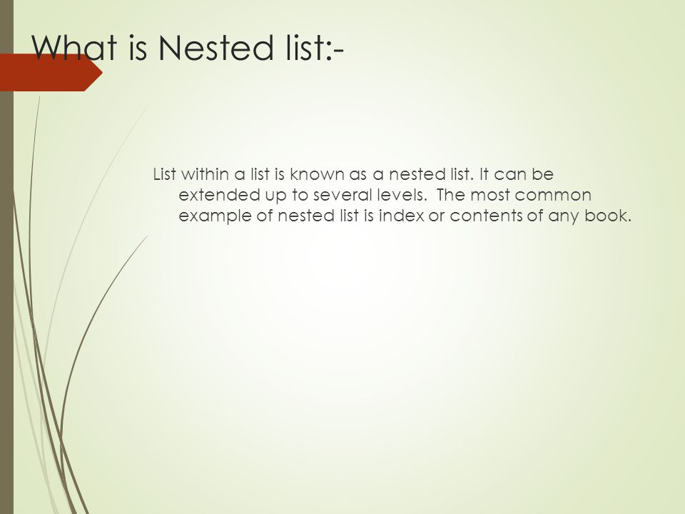 What is Nested list:-