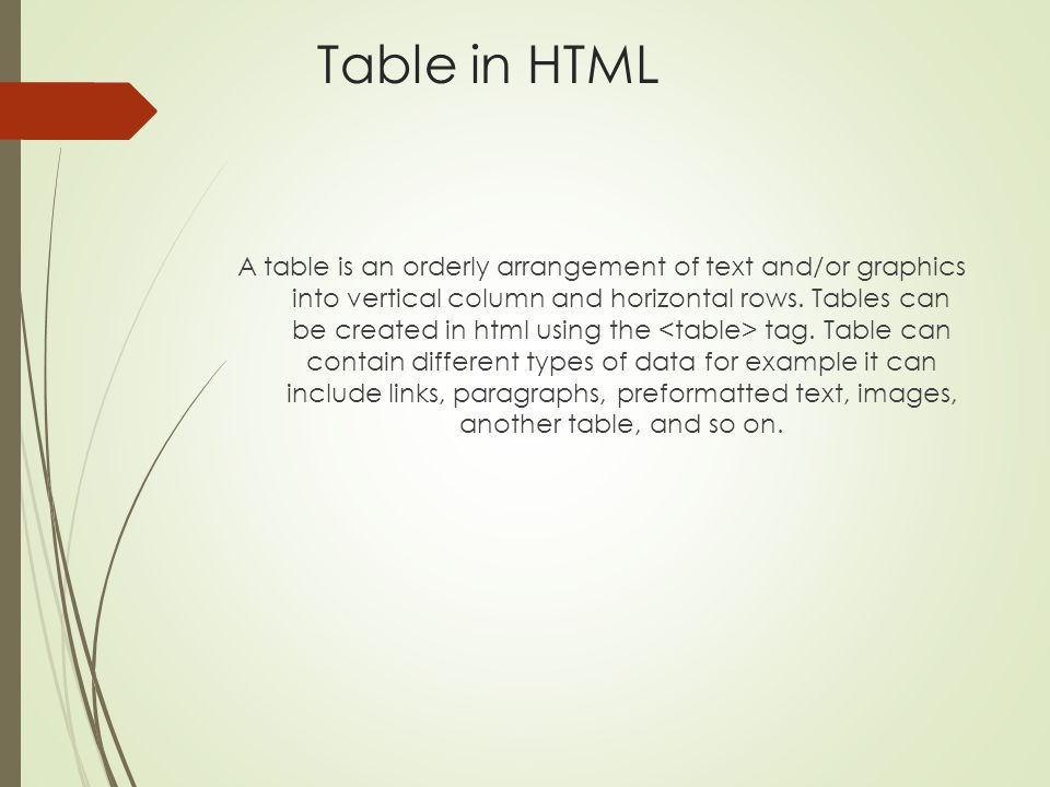 Table in HTML