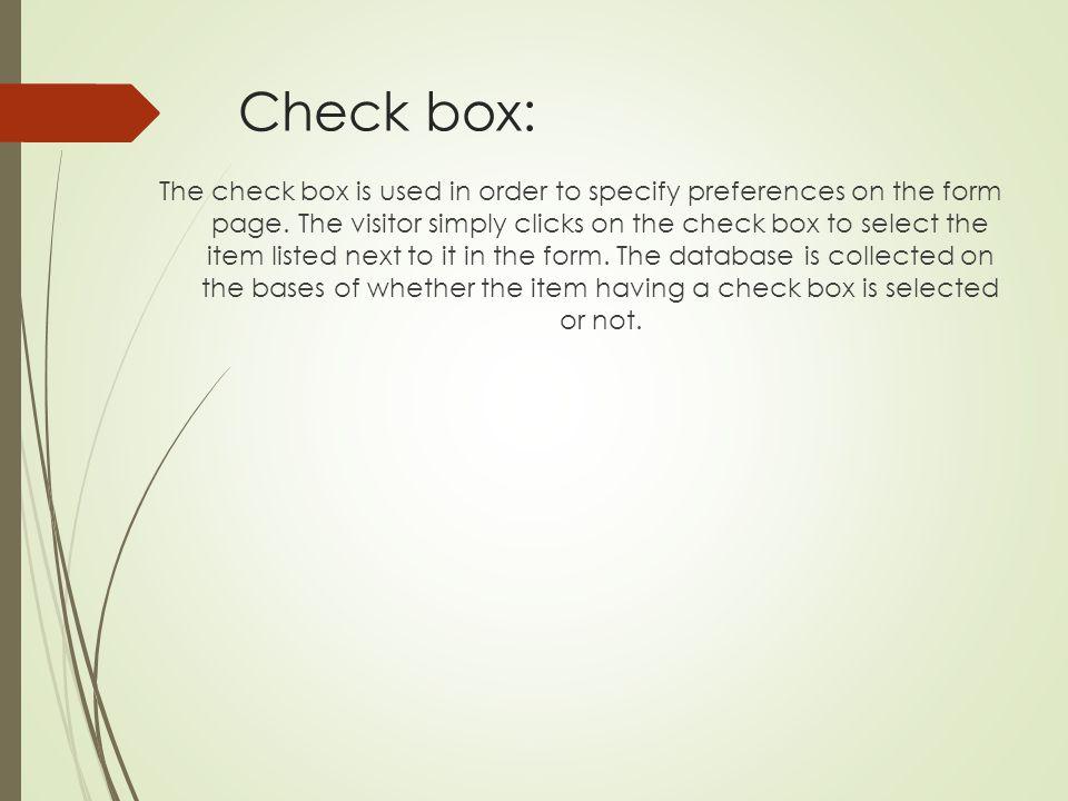 Check box: