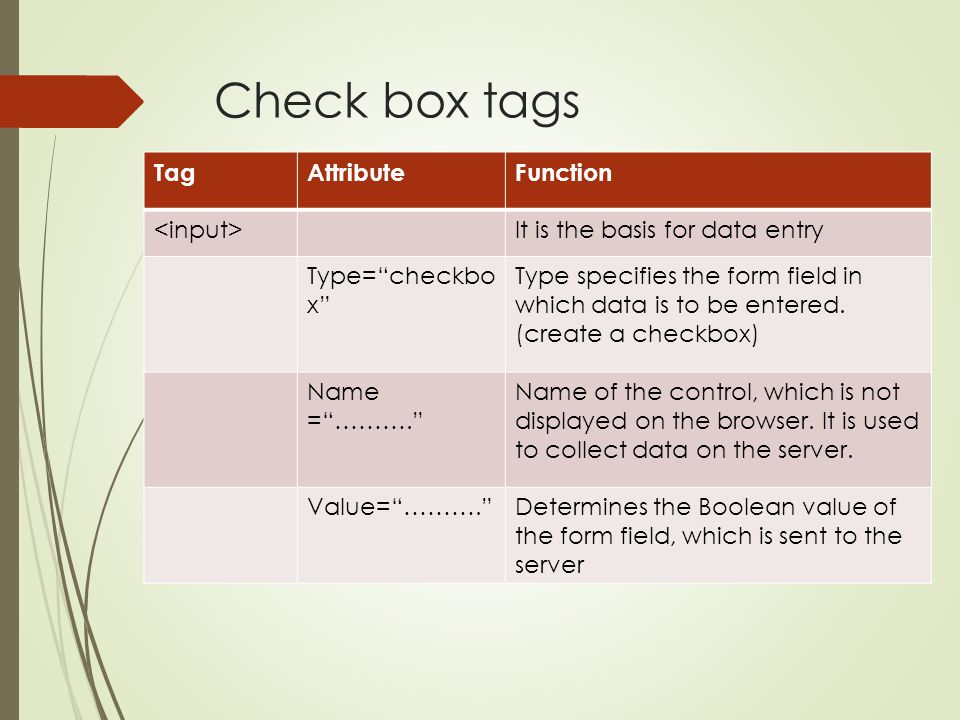 Check box tags Tag Attribute Function <input>