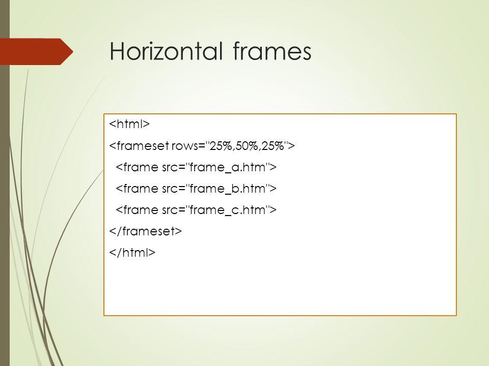 Horizontal frames <html> <frameset rows= 25%,50%,25% >