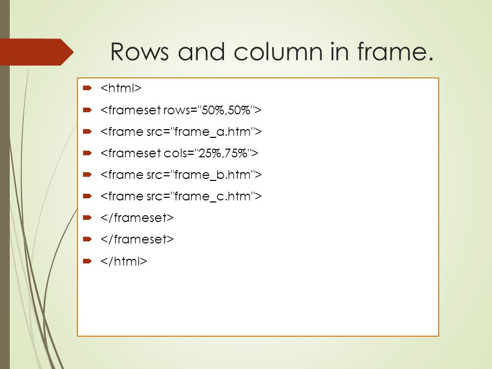Rows and column in frame.