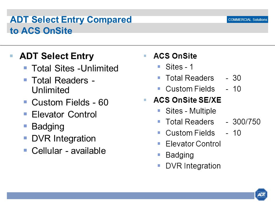 ADT Select Entry Compared to ACS OnSite