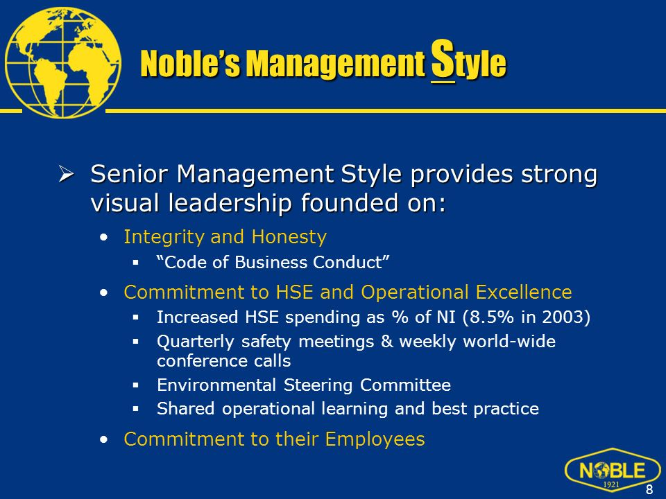 Noble's Management Style