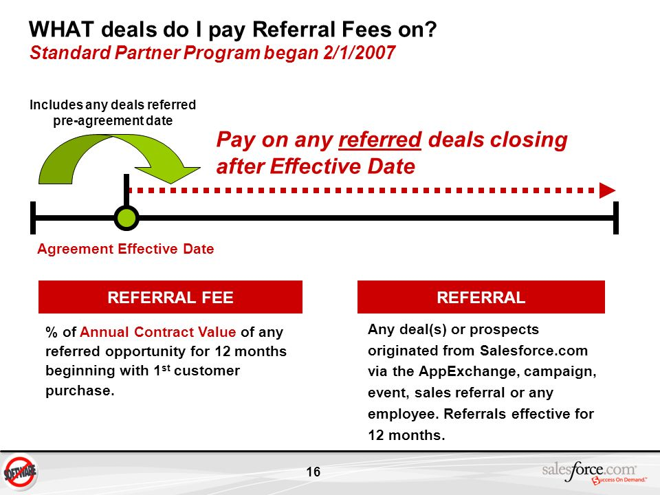 Includes any deals referred pre-agreement date