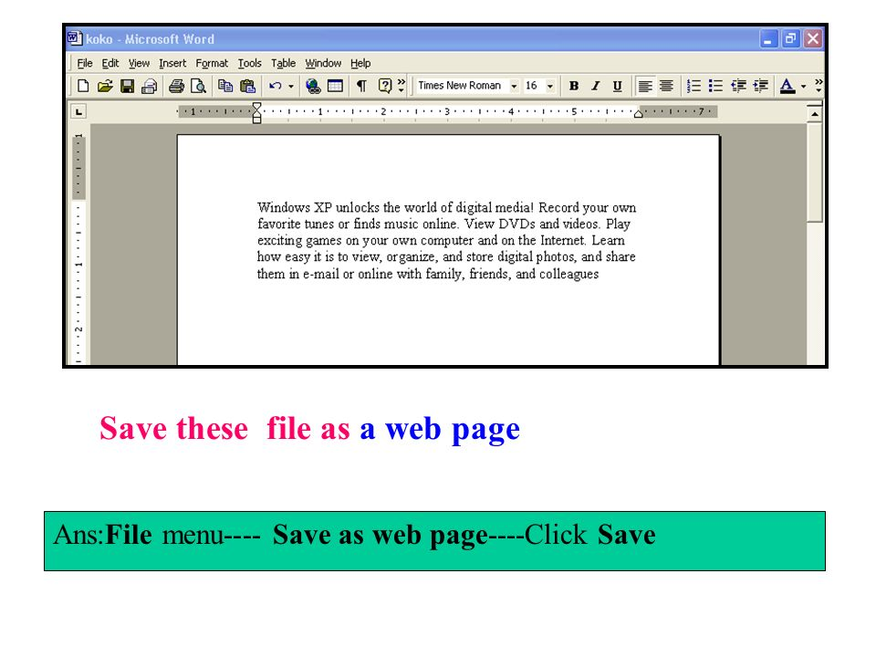 Save these file as a web page
