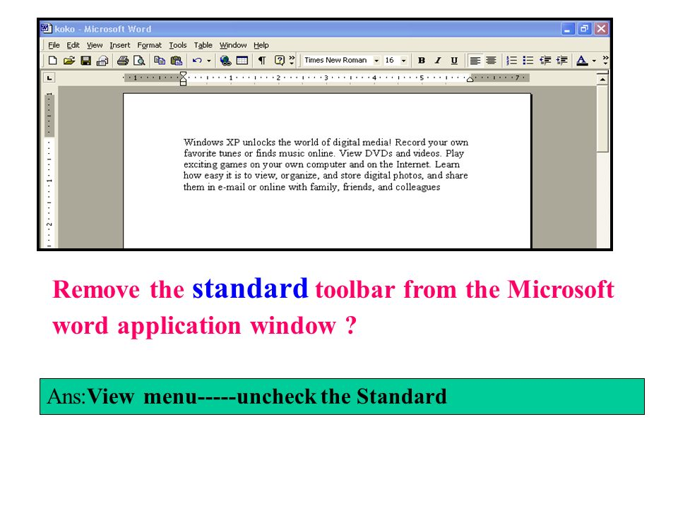 Remove the standard toolbar from the Microsoft word application window