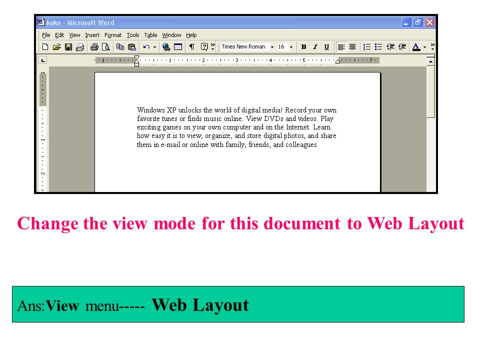 Change the view mode for this document to Web Layout