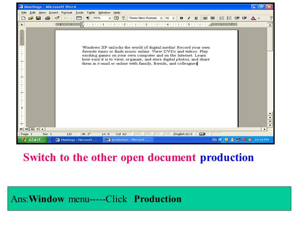 Switch to the other open document production