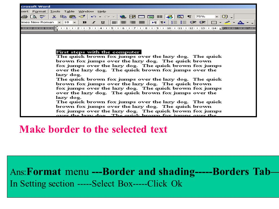 Make border to the selected text