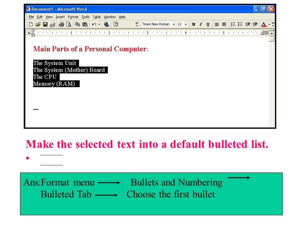 Make the selected text into a default bulleted list.