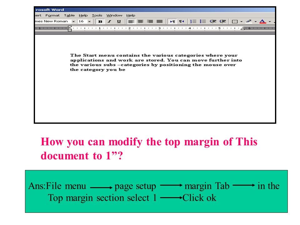 How you can modify the top margin of This document to 1