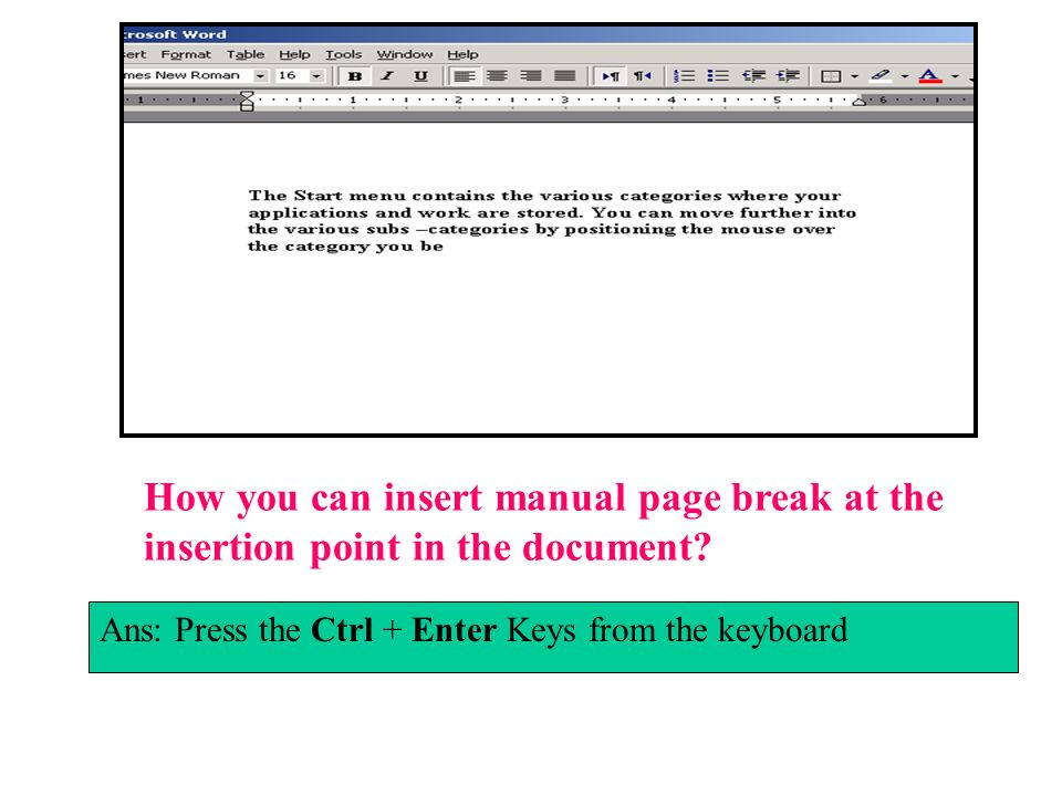 How you can insert manual page break at the insertion point in the document
