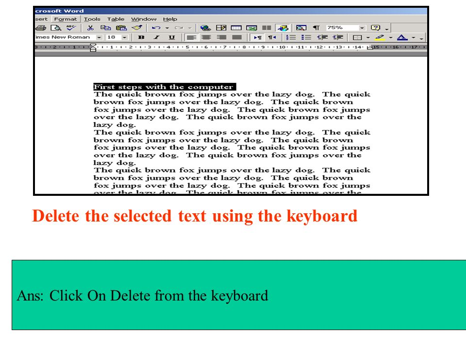 Delete the selected text using the keyboard