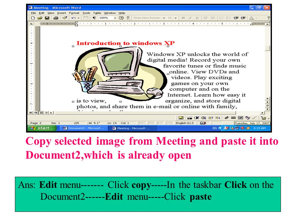 Copy selected image from Meeting and paste it into Document2,which is already open
