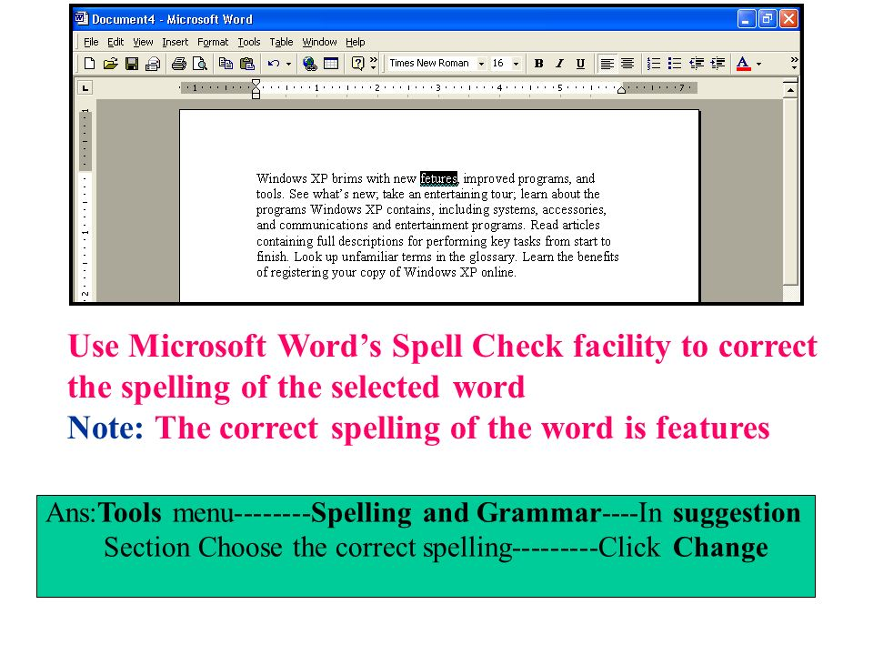Use Microsoft Word's Spell Check facility to correct