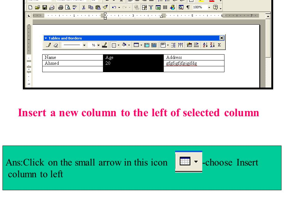 Insert a new column to the left of selected column
