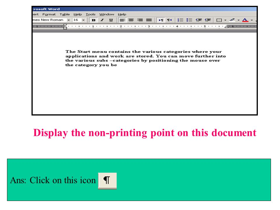 Display the non-printing point on this document