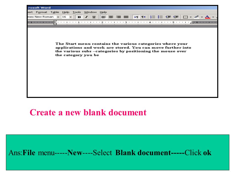 Create a new blank document