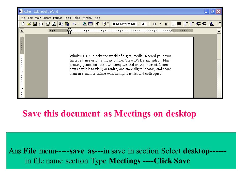 Save this document as Meetings on desktop