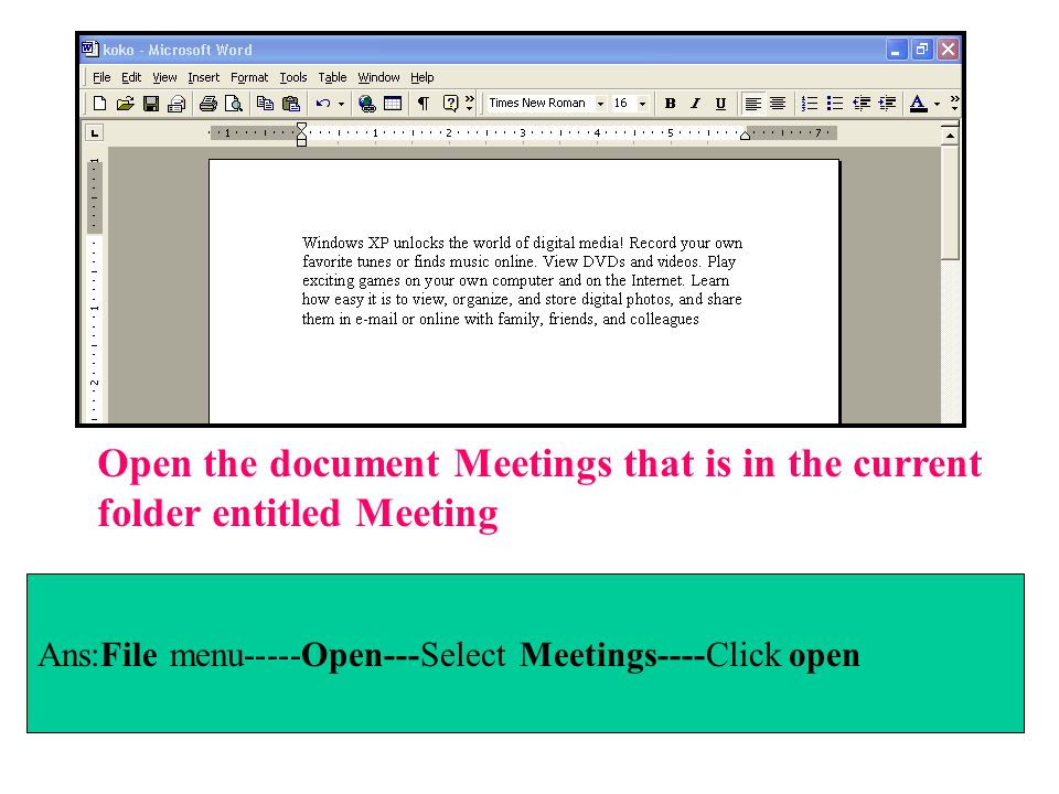 Open the document Meetings that is in the current