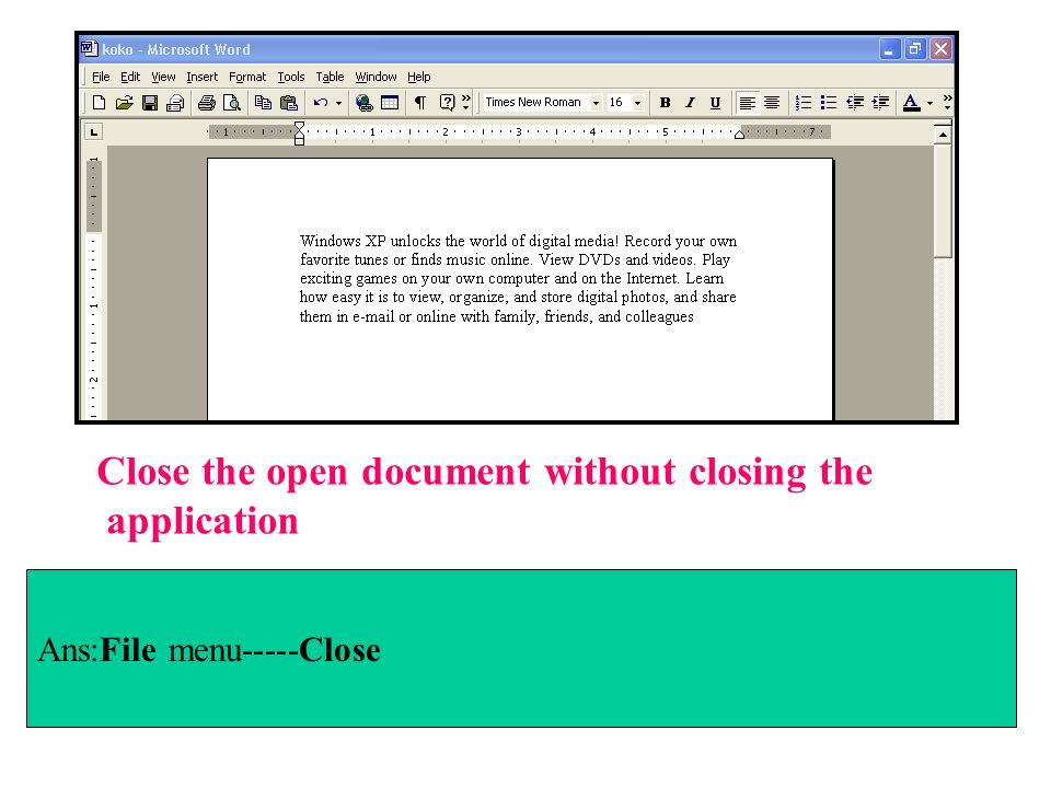 Close the open document without closing the application