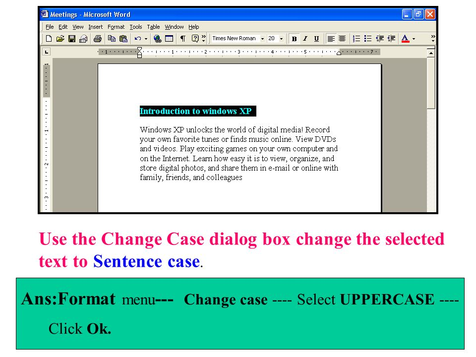 Use the Change Case dialog box change the selected