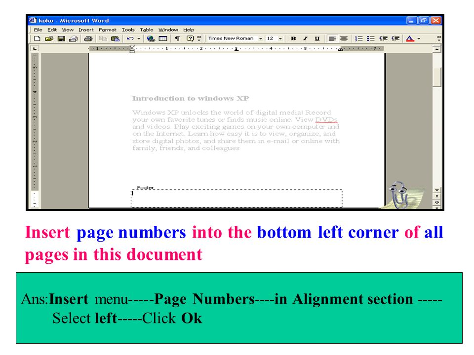Insert page numbers into the bottom left corner of all