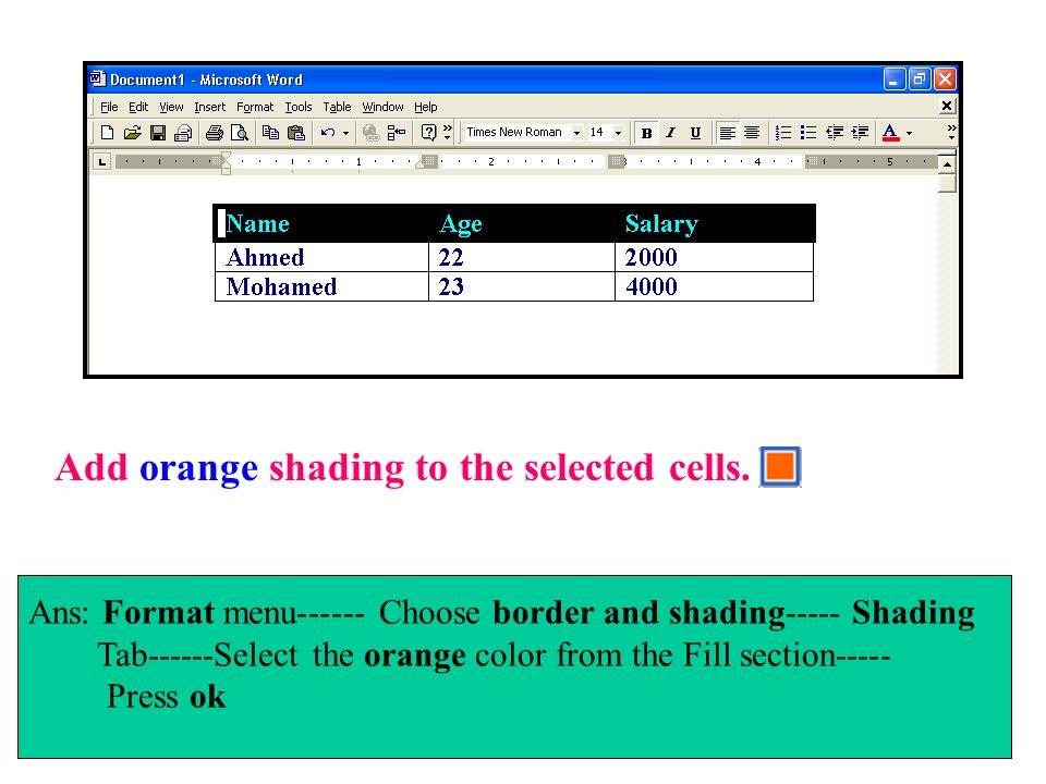 Add orange shading to the selected cells.