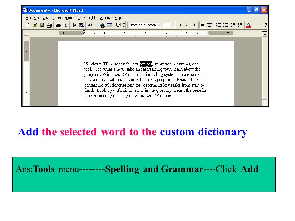 Add the selected word to the custom dictionary