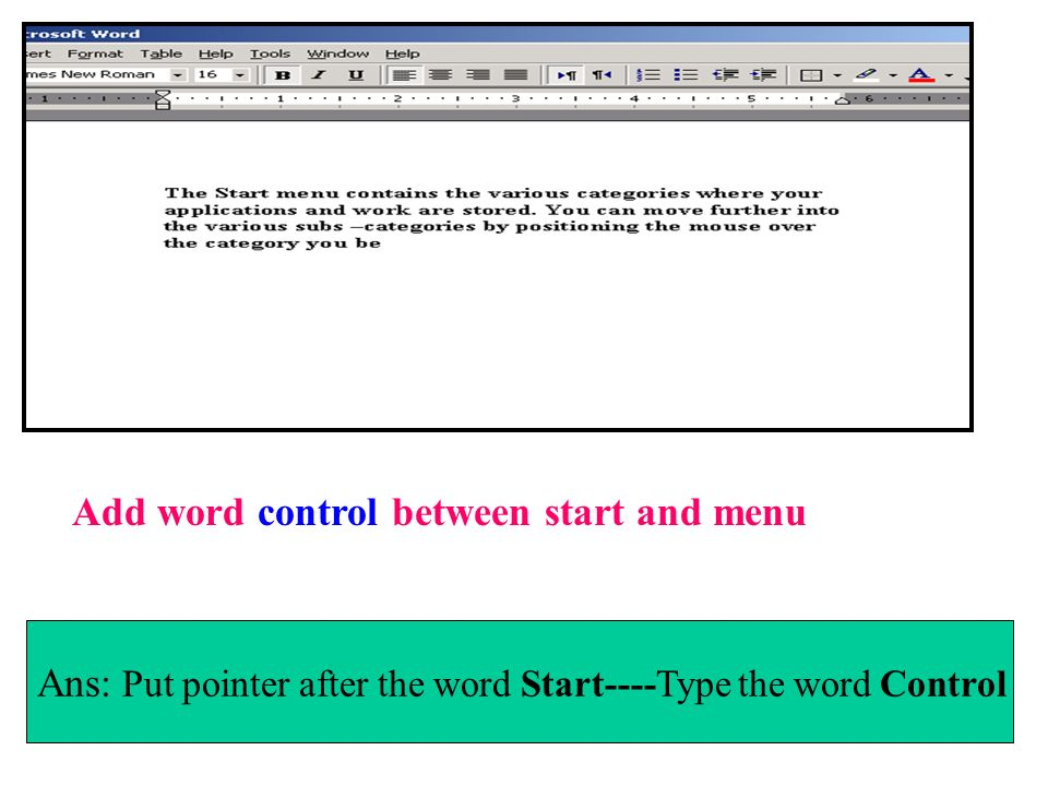 Add word control between start and menu