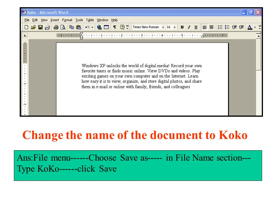 Change the name of the document to Koko