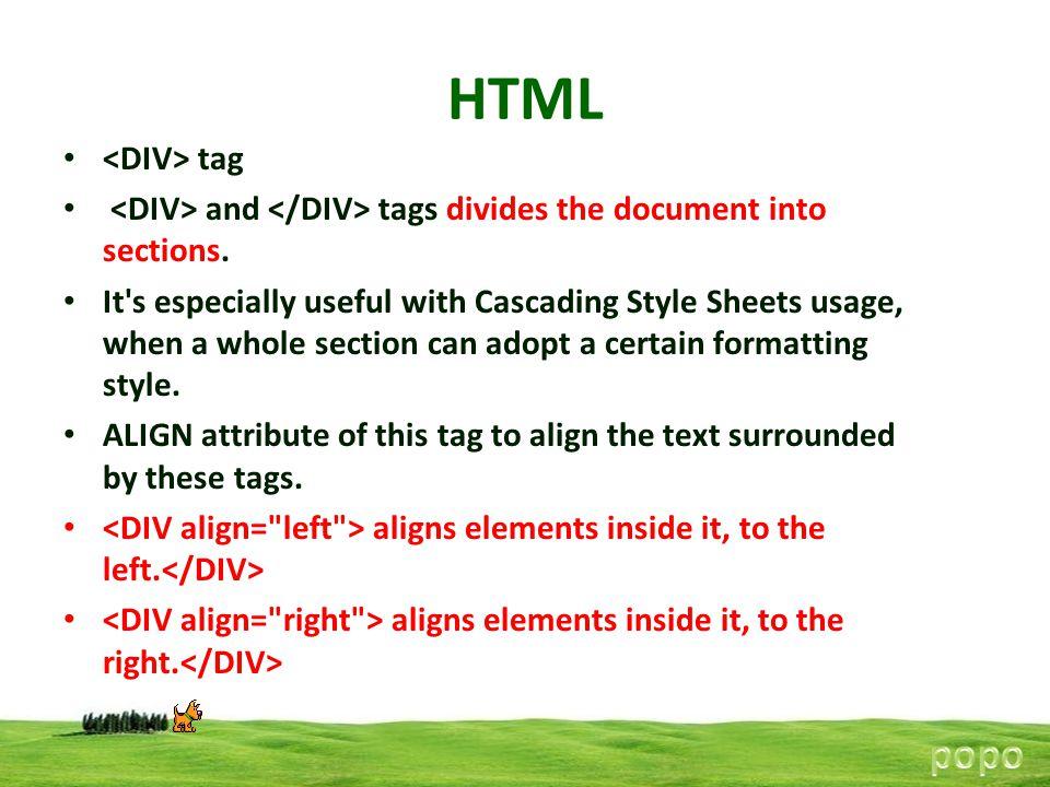 HTML popo <DIV> tag