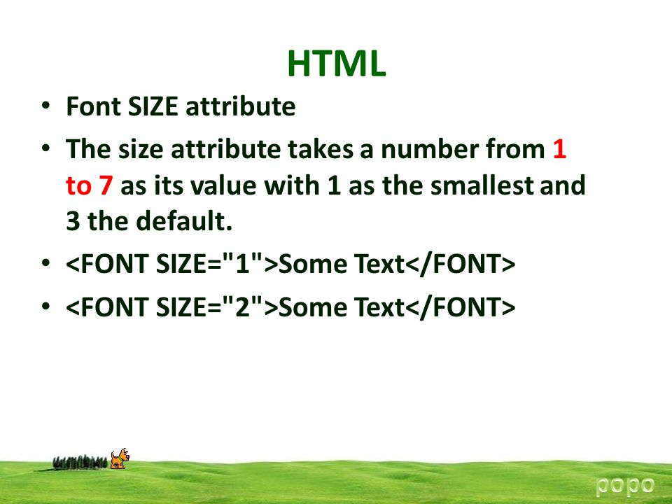HTML Font SIZE attribute
