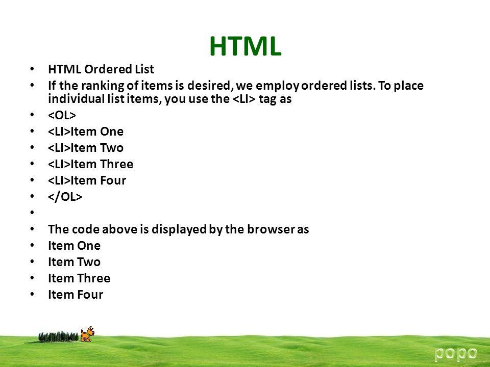 HTML popo HTML Ordered List