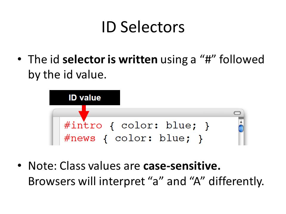ID Selectors The id selector is written using a # followed by the id value.