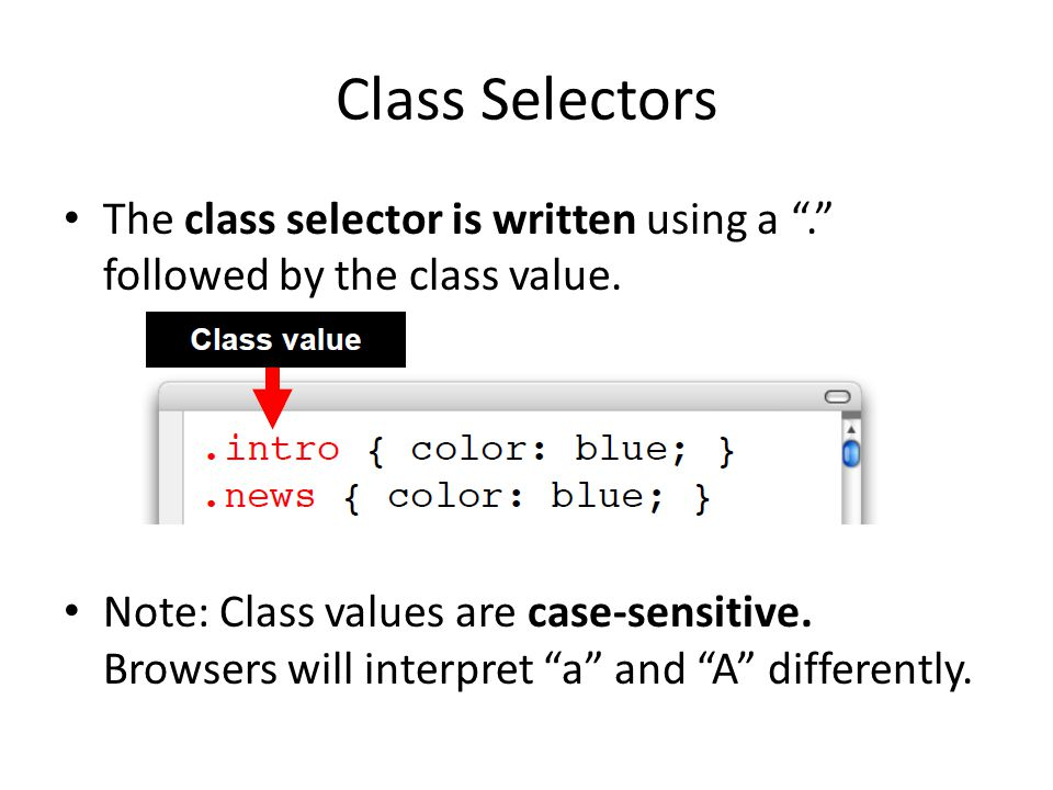 Class Selectors The class selector is written using a . followed by the class value.